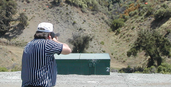 Shooter shooting double trap